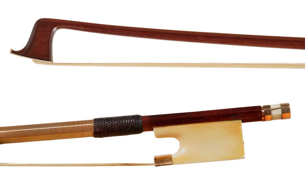 Voirin violin bow, gold, ivory